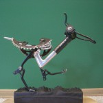 Road Runner sculpture made from discarded bike parts